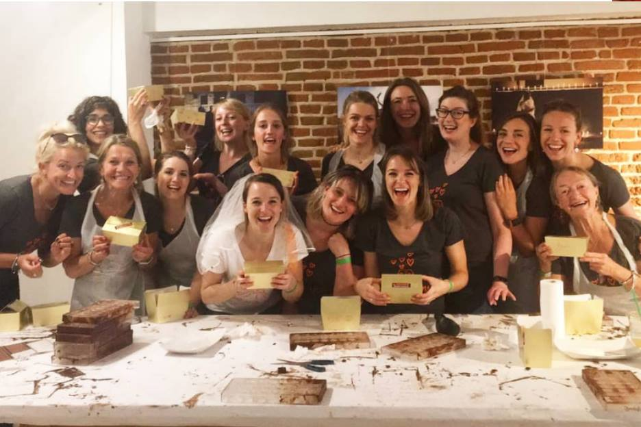 bachelorette party at Bruges chocolate workshop